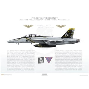 F/A-18F Super Hornet VFA-103 Jolly Rogers, AG200 / 168493. CVW-7, USS Abraham Lincoln CVN-72 - 2018 - 75th Anniversary  Squadron Lithograph