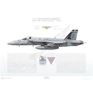 F/A-18E Super Hornet VFA-143 Pukin Dogs, AG100 / 168908. CVW-7, USS Abraham Lincoln CVN-72 - 2017 Squadron Lithograph