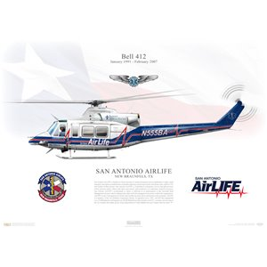 Aircraft Profile Print Of Bell 412 San Antonio Airlife