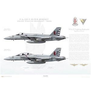 "F/A-18E/F Super Hornet VFA-22 Fighting Redcocks, NK100 / 166437 and 166795. CVW-14, USS Ronald Reagan CVN-76 - 2005  Size: Standard - 24 x 16"" / 594 x 420mm Squadron Lithograph"