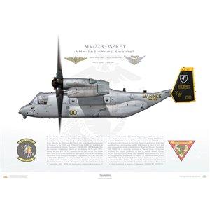 "MV-22B Osprey,Marine Medium Tiltrotor Squadron One Six Five (VMM-165) ""White Knights"", 168029, YW00, MCAS Miramar, CA Squadron Lithograph"