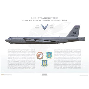 "B-52H Stratofortress 917th W, 93rd BS, BD/61-0029 ""SAC Time"". Barksdale AFB, LA - 2009 Squadron Lithograph"