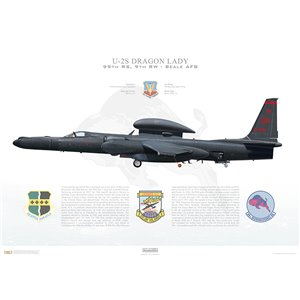 "U-2S Dragon Lady ""Senior Span"" 9th Reconnaissance Wing, 99th Reconnaissance Squadron, 80-329 - Beale AFB, CA Squadron Lithograph"