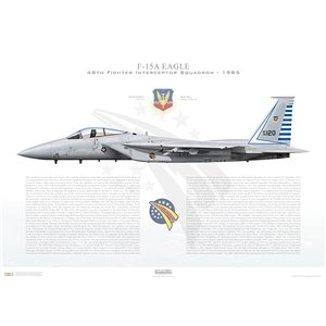 F-15A Eagle 48th Fighter Interceptor Squadron (48 FIS), 76-0120 - Langley AFB, VA, 1985 - Squadron Lithograph