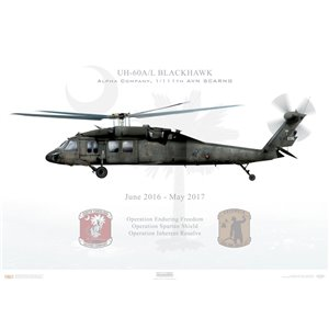 UH-60A/L Blackhawk, Alpha Company, 1/111th AVN SCARNG - Squadron Lithograph
