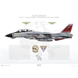 F-14D Tomcat VF-31 Tomcatters, AJ101 / 164603. CVW-8, USS Theodore Roosevelt CVN-71 - Retirement Scheme, 2006 Squadron Lithograph