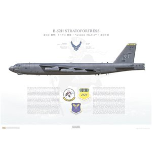 "B-52H Stratofortress 2nd BW, 11th BS Jiggs Squadron, BD/60-0011 ""Mr. Jiggs"". Barksdale AFB, LA - 2018 Squadron Lithograph"