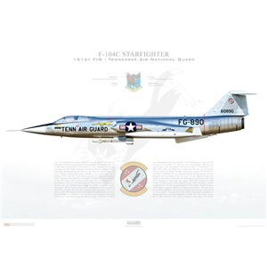 F-104C Starfighter 151st Fighter Interceptor Squadron, 134th Fighter Interceptor Group, Aerospace Defence Command, 56-0890 - Tennessee ANG, Homestead AFB, FL - Squadron Lithograph