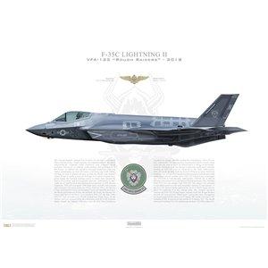 F-35C Lightning II VFA-125 Rough Raiders, NJ406, 169160 -NAS Lemoore, CA, - Squadron Lithograph