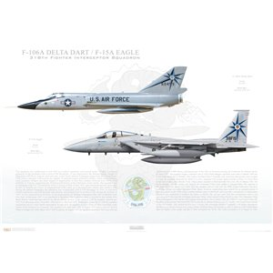 "318th Fighter Interceptor Squadorn ""Green Dragons"", 25th Air Division - F-106A Delta Dart to F-15A Eagle Transition, McChrord AFB, WA Size: Standard - 24 x 16"" / 594 x 420mm Squadron Lithograph"