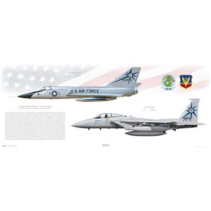 "318th Fighter Interceptor Squadorn ""Green Dragons"", 25th Air Division - F-106A Delta Dart to F-15A Eagle Transition, McChrord AFB, WA Size: Standard - 40 x 16"" / 1000 x 400mm Squadron Lithograph"
