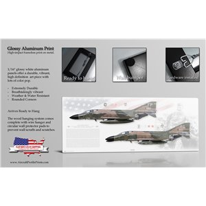 "40"" x 16"" ALUMINUM PRINT - F-4C Phantom II 8th Tactical Fighter Wing, 555th Tactical Fighter Squadron ""Triple Nickel"", FP/63-7680 (Operation Bolo) & 433rd Tactical Fighter Squadron ""Satan's Angels"", FG/64-0829 (SCAT XXVII)  MiG Killers, USAF Triple Ace Col. Robin Olds - RTAFB Ubon, Thailand, 1967 Size: Standard - 40 x 16"" / 1000 x 400mm"