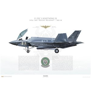 F-35C Lightning II VFA-125 Rough Raiders, NJ406, 169160 - NAS Lemoore, CA, - Squadron Lithograph