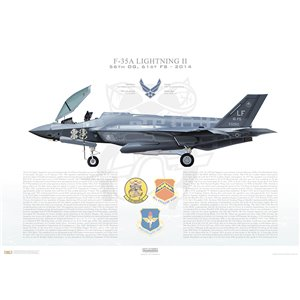 F-35A Lightning II 56th Operations Group, 61st Fighter Squadron, LF/12-5050 - Luke AFB, AZ - 2014 Squadron Lithograph