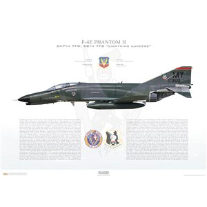 "F-4E Phantom II 347th Tactical Fighter Wing, 68th Tactical Fighter Squadron ""Lightning Lancers"", MY/67-370 - Moody AFB, GA - Squadron Lithograph"