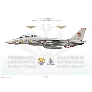 F-14A Tomcat VF-111 Sundowners, NL201 / 160668. CVW-15, USS Kitty Hawk CV-63 - 1979 Squadron Lithograph