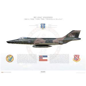 "RF-101C Voodoo 186th Tactical Reconnaissance Group, 153rd Tactical Reconnaissance Squadron, ""Magnolia Militia"", Mississippi Air National Guard, 59-0166 - Key Field ANGB, MS, 1970 Squadron Lithograph"