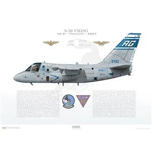 S-3B Viking VS-31 Topcats, AG700 / 160152. CVW-7 - 2005 Squadron Lithograph