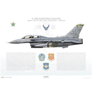 "F-16D Fighting Falcon 19th Air Force, 56th Fighter Wing, 310th Fighter Squadron ""Tophats"", LF/90-0778 Mig Killer - Luke AFB, AZ - 2018 Squadron Lithograph"