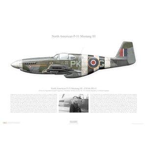 "P-51 Mustang III,FB166 /PK-G-RAF No 315 Squadron, No 133 Polish Wing- RAF Coolham, England, 1944. Flown by Squandron Leader Eugeniusz ""Dziubek"" Horbaczewski Squadron Lithograph"
