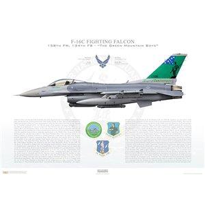 "F-16C Fighting Falcon158th Fighter Wing, 134thFighter Squadron ""The Green Mountain Boys"", 86-0336 ""70th Years Anniversary"" -Burlington ANGB, VT Squadron Lithograph"
