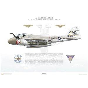 A-6A Intruder VA-75 Sunday Punchers, AC503 / 155627. CVW-3, USS Saratoga CV-60 - 1973 Squadron Lithograph