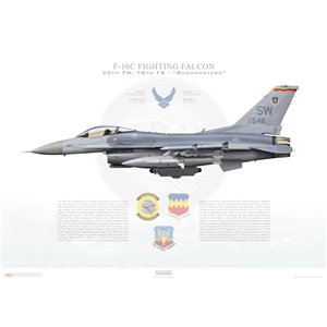 "F-16C Fighting Falcon 20th Fighter Wing, 78th Fighter Squadron ""Bushmasters"", SW/93-0546 - Shaw AFB, SC Squadron Lithograph"