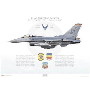 "F-16C Fighting Falcon20th Fighter Wing, 78thFighter Squadron ""Bushmasters"", SW/93-0546 -Shaw AFB,SC Squadron Lithograph"