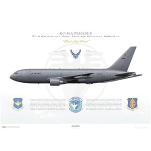 KC-46A Pegasus 64th Air Mobility Wing, 56th Air Refueling Squadron, 17-76028 - Altus AFB, OK Squadron Lithograph