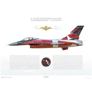 "F-16AM Fighting Falcon, 727 / 730 squadron, E-191 - ""Dannebrog 800"" Skrydstrup Air Base, 2019 Squadron Lithograph"