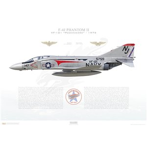 F-4J Phantom II VF-121 Pacemakers, NJ147 / 155759. Fleet Replacement Squadron, 1975 - Squadron Lithograph