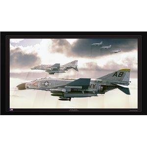 "Alpha Strike - F-4B Phantom II VF-14 Tophatters, VF-32 Swordsman, A-4E Skyhawk VA-172 Blue Bolts. CVW-1, USS F. D. Roosevelt CV-42 Size: 28 x 16"" / 711 x 400mm"