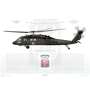 UH-60L Blackhawk, Det. 2, Charlie Company, 1-169th Aviation Regiment - Virginia Dustoff - Virginia Army National Guard / KFOR - Squadron Lithograph