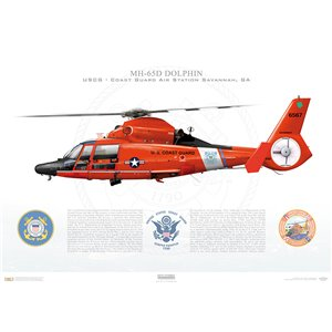 MH-65D Dolphin, USCG, Coast Guard Air Station Savannah, GA Squadron Lithograph