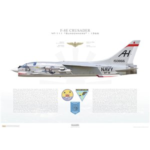 F-8ECrusader VF-111 Sundowners,AH113 / 150866. CVW-16, USSOriskany CV-34, 1966 Squadron Lithograph