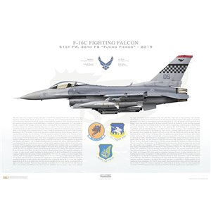 "F-16C Fighting Falcon Pacific Air Forces, 51st Fighter Wing, 36th Fighter Squadron ""Flying Fiends"", OS/89-2139 - Osan AB, Korea - 2019 Squadron Lithograph"
