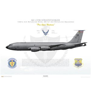 KC-135R Stratotanker 100th Air Refueling Wing, 351st Air Refueling Squadron, 62-3551 - RAF Mildenhall, UK - Squadron Lithograph