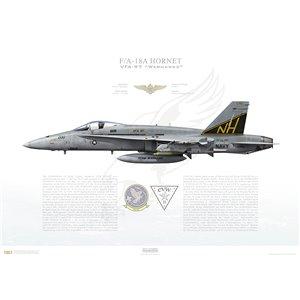 F/A-18A Hornet VFA-97 Warhawks, NH200 / 163098. CVW-11, USS Carl Vinson CVN-70 Squadron Lithograph
