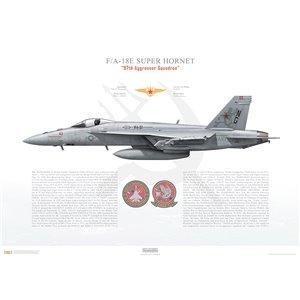 "F/A-18E Super Hornet VFA-97 Warhawks ""Aggressor"", NG03 / 165897. CVW-9, NAS Lemoore, 2019 - Squadron Lithograph"