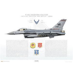 "F-16C Fighting Falcon, 127th Wing, 107th Fighter Squadron ""Red Devils"", MI/85-1487 - Selfridge ANGB, MI - 2004 Squadron Lithograph"