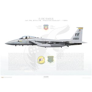 "F-15C Eagle 1st Fighter Wing, 27th Fighter Squadron, FF/82-023 ""Maloney's Pony"" - Langley AFB, VA - 1994 - Squadron Lithograph"