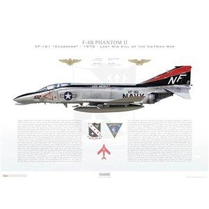 F-4BPhantom II VF-161 Chargers,NF102 / 153045. CVW-5, USS Midway CV-41, Last Mig Kill of VietNam War, 1973 - Squadron Lithograph
