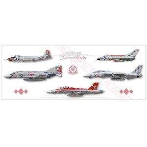 "40"" x 16"" SPECIAL EDITION -VF-102 Diamondbacks Lineage - F2H-4 Banshee, F4D-1 Skyray, F-4J Phantom II, F-14B Tomcat, F/A-18F Super Hornet - Squadron Lithograph Size: 40 x 16"" / 1000 x 400mm"