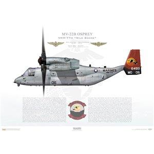 "MV-22B Osprey,Marine Medium Tiltrotor Squadron Seven Seven Four (VMM-774) ""Wild Goose"", 166499, MQ06, NAS Norfolk, VA Squadron Lithograph"