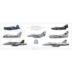 "40"" x 16"" SPECIAL EDITION -VF-83 Rampagers Lineage - F4U-4 Corsair, F7U-3 Cutlass, F9F-5 Panther, A-4E Skyhawk, A-7E Corsair II, F/A-18C Hornet, F/A-18E Super Hornet - Squadron Lithograph Size: 40 x 16"" / 1000 x 400mm"
