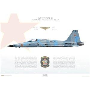 F-5N Tiger II VMFT-401 Sinpers, LS01 / 761583. MAG-46/4 MAW, MCAS Yuma, Arizona - 2019 Squadron Lithograph