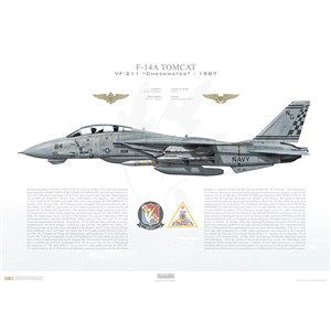 F-14A Tomcat VF-211 Checkmates, NG114 / 159630. CVW-9, USS Kitty Hawk CV-63 - 1987, Squadron Lithograph
