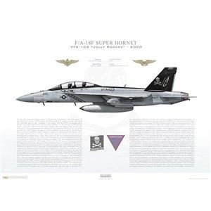 F/A-18F Super Hornet VFA-103 Jolly Rogers,AG200 / 168493. CVW-7, USS Abraham Lincoln CVN-72 - 2020 Squadron Lithograph