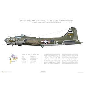 "B-17G Flying Fortress - 42-31076, LG-V ""Chief Sly's Son"" 91st BG, 322nd BS - 1944, RAF Bassingbourn - Squadron Lithograph"