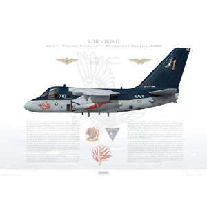 S-3B Viking VS-21 Fighting Redtails, NF710 / 160604. CVW-5, USS Kitty Hawk CV-63 - Retirement Scheme, 2004 Squadron Lithograph